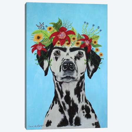 Frida Kahlo Dalmatian Blue Canvas Print #COC372} by Coco de Paris Canvas Artwork