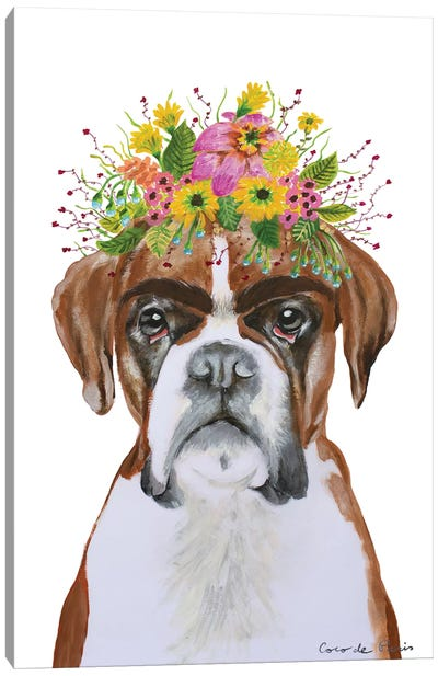 Frida Kahlo Boxer White Canvas Art Print
