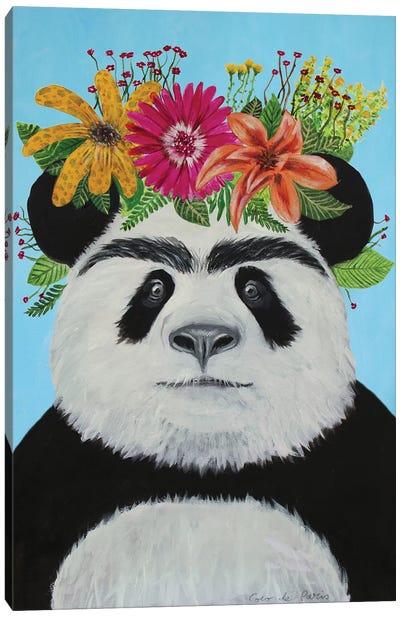 Frida Kahlo Panda Blue Canvas Art Print