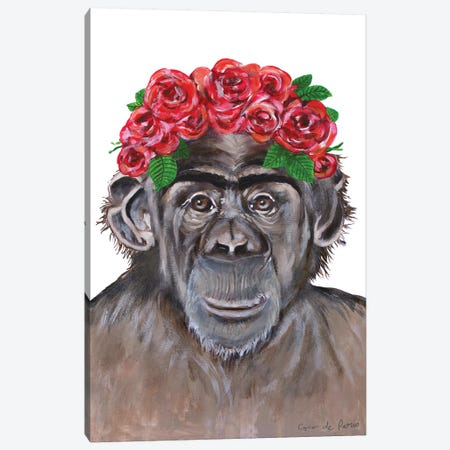 Frida Kahlo Chimpanzee White Canvas Print #COC379} by Coco de Paris Canvas Wall Art