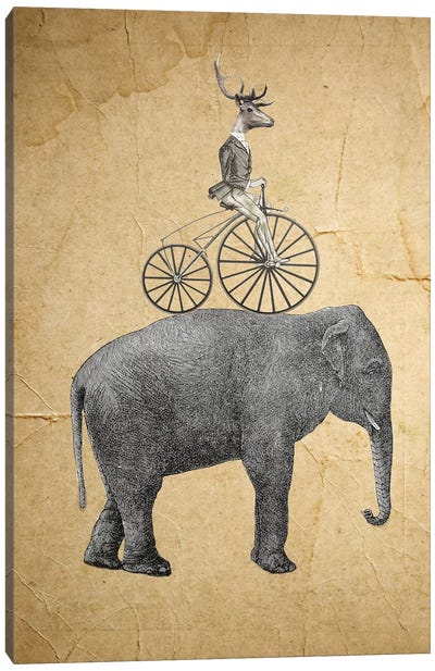 Elephant With Deer Canvas Art Print