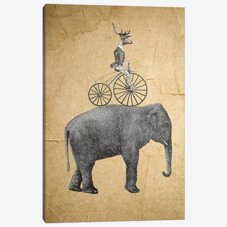 Elephant With Deer Canvas Print #COC37} by Coco de Paris Canvas Wall Art