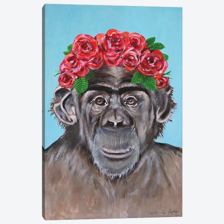 Frida Kahlo Chimpanzee Blue Canvas Print #COC380} by Coco de Paris Canvas Art Print