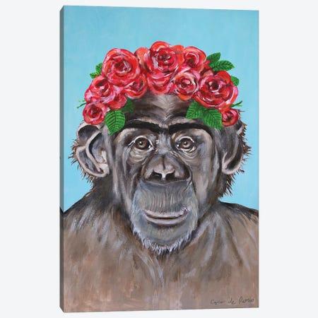 Frida Kahlo Chimpanzee Blue Canvas Print #COC380} by Coco de Paris Canvas Art Print