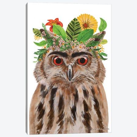 Frida Kahlo Owl White Canvas Print #COC381} by Coco de Paris Canvas Print