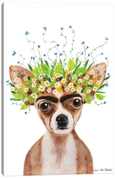 Frida Kahlo Chihuahua White Canvas Art Print