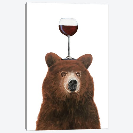 Bear With Wineglass Canvas Print #COC385} by Coco de Paris Canvas Art