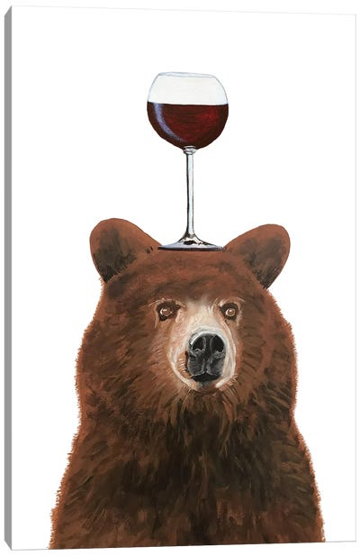 Bear With Wineglass Canvas Art Print