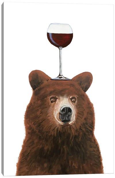 Bear With Wineglass Canvas Art Print