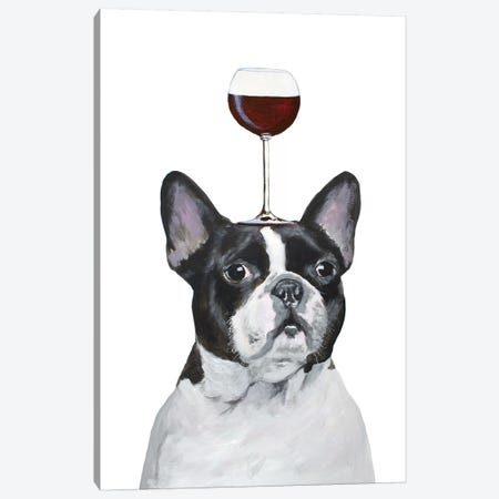 Frenchie With Wineglass Canvas Print #COC386} by Coco de Paris Canvas Wall Art