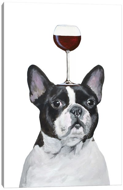 Frenchie With Wineglass Canvas Art Print
