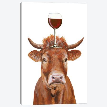 Cow With Wineglass Canvas Print #COC387} by Coco de Paris Canvas Artwork