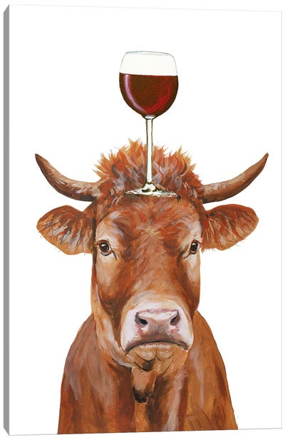 Cow With Wineglass Canvas Art Print