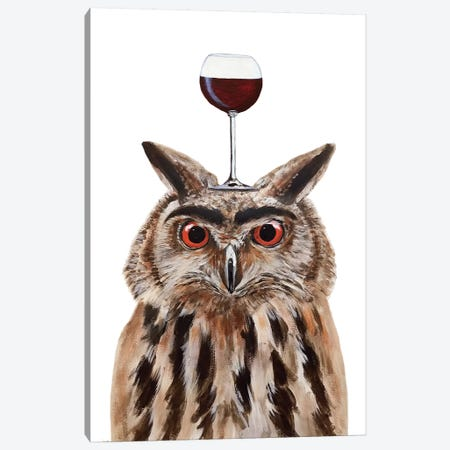 Owl With Wineglass Canvas Print #COC388} by Coco de Paris Canvas Art Print
