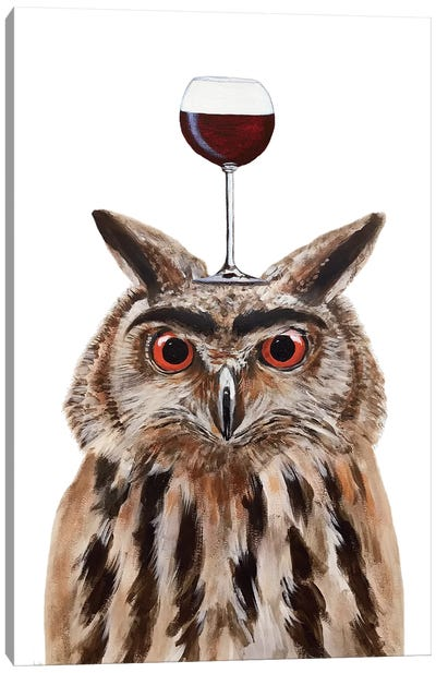 Owl With Wineglass Canvas Art Print