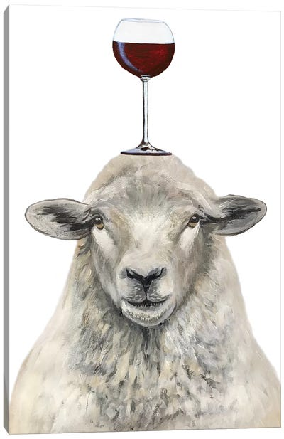 Sheep With Wineglass Canvas Art Print