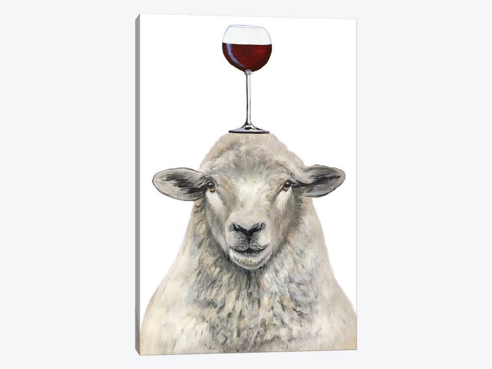 Sheep With Wineglass by Coco de Paris 1-piece Canvas Wall Art