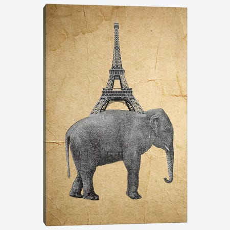 Elephant With Eiffel Tower Canvas Print #COC38} by Coco de Paris Canvas Print