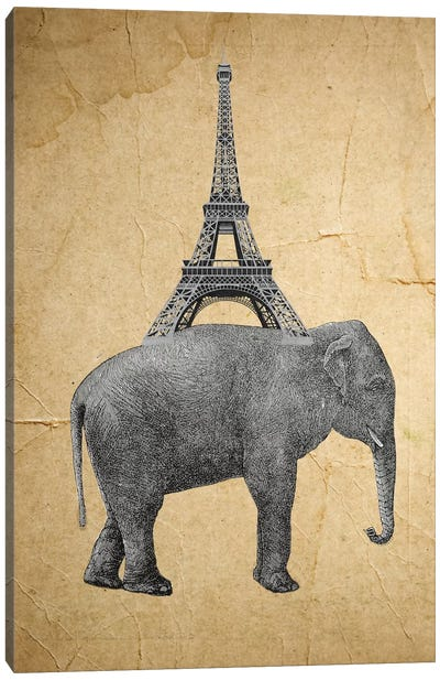 Elephant With Eiffel Tower Canvas Print #COC38