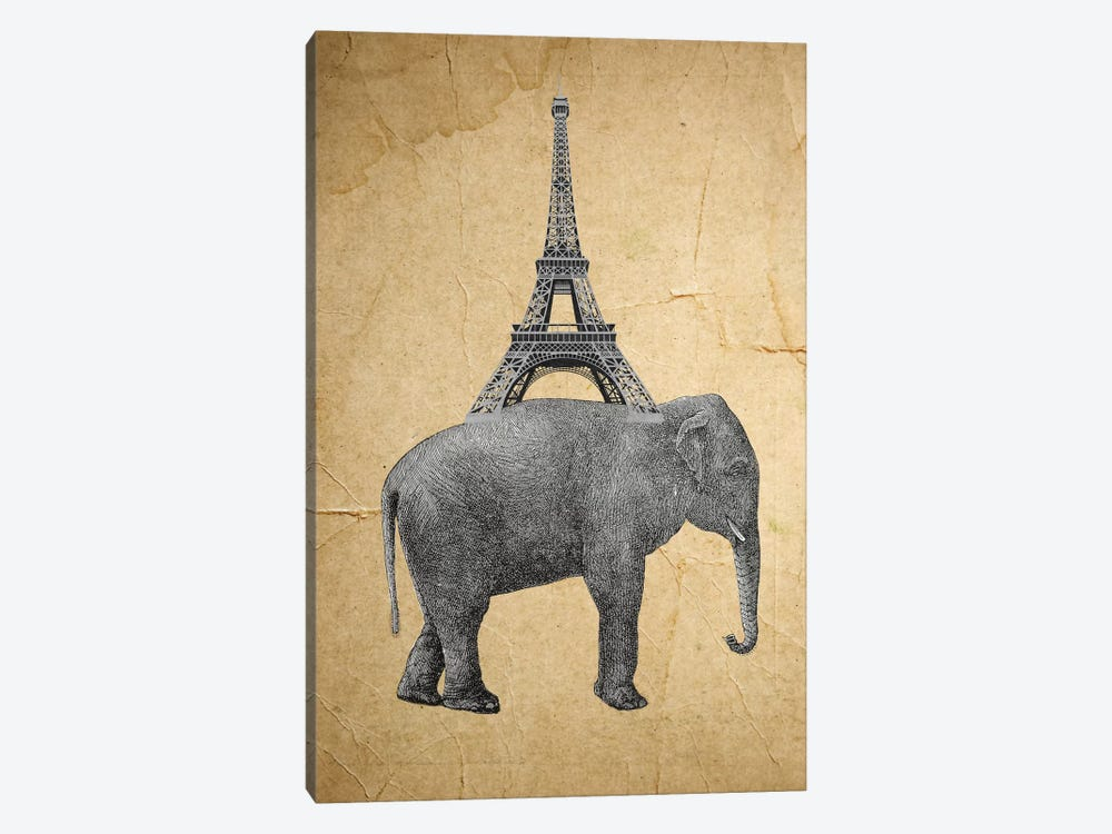 Elephant With Eiffel Tower by Coco de Paris 1-piece Canvas Print
