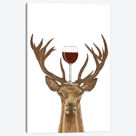 Deer With Wineglass Canvas Print #COC390} by Coco de Paris Canvas Wall Art