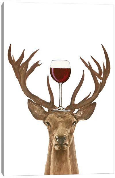 Deer With Wineglass Canvas Art Print