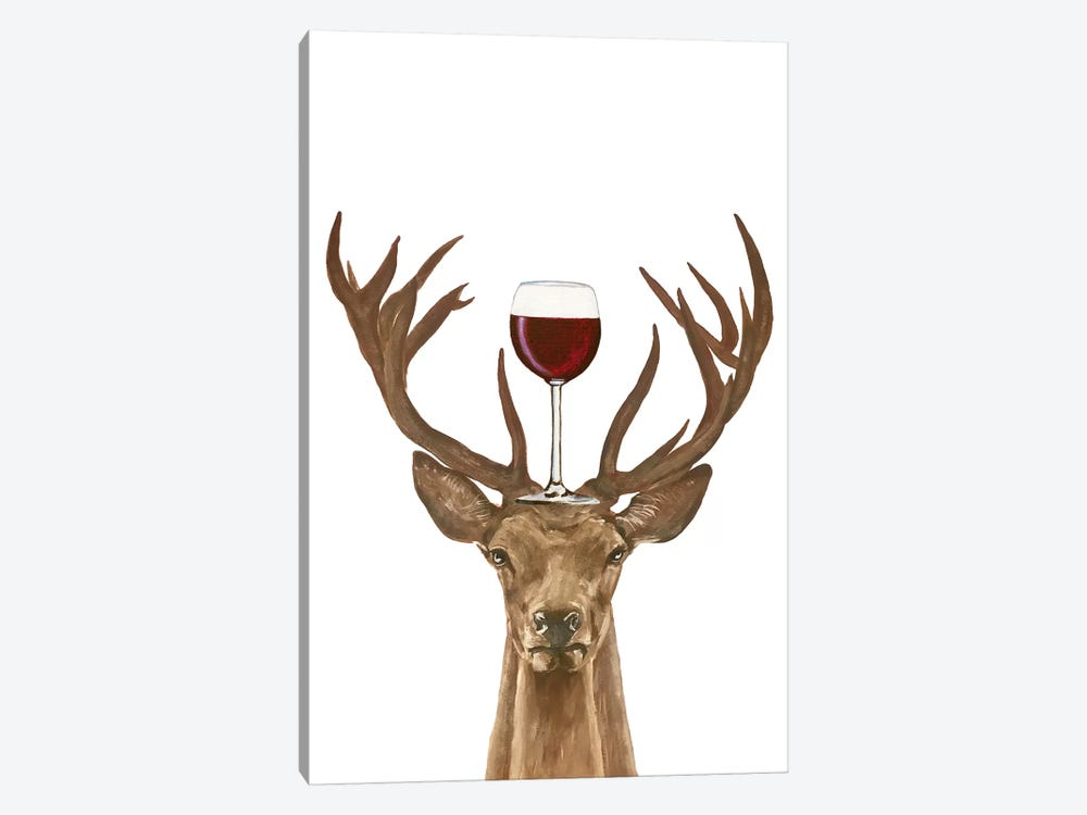 Deer With Wineglass by Coco de Paris 1-piece Canvas Wall Art