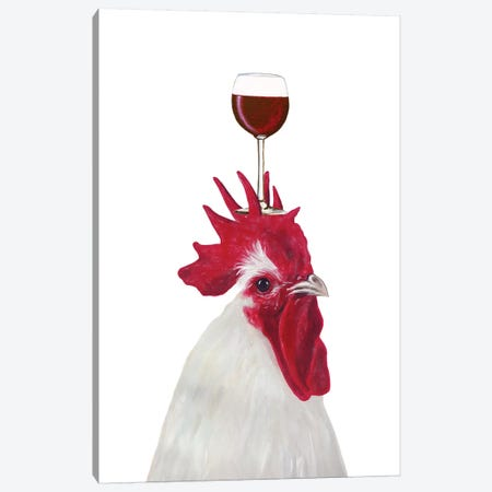 Rooster With Wineglass Canvas Print #COC391} by Coco de Paris Canvas Artwork