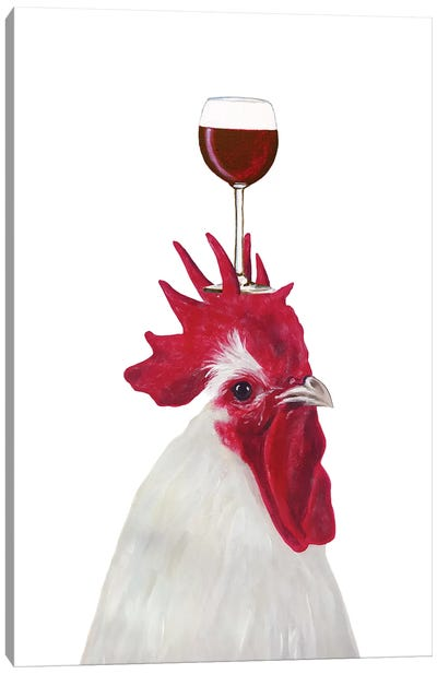 Rooster With Wineglass Canvas Art Print