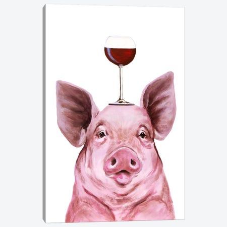 Pig With Wineglass Canvas Print #COC392} by Coco de Paris Canvas Art