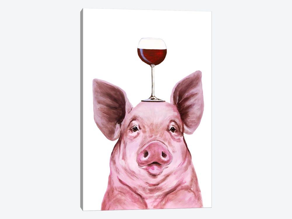Pig With Wineglass by Coco de Paris 1-piece Canvas Art