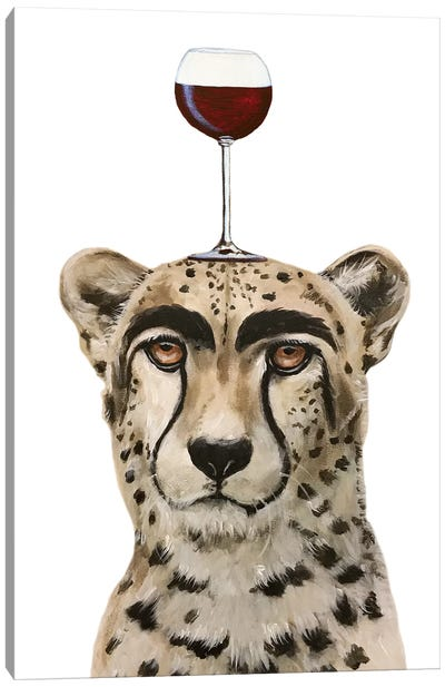 Cheetah With Wineglass Canvas Art Print
