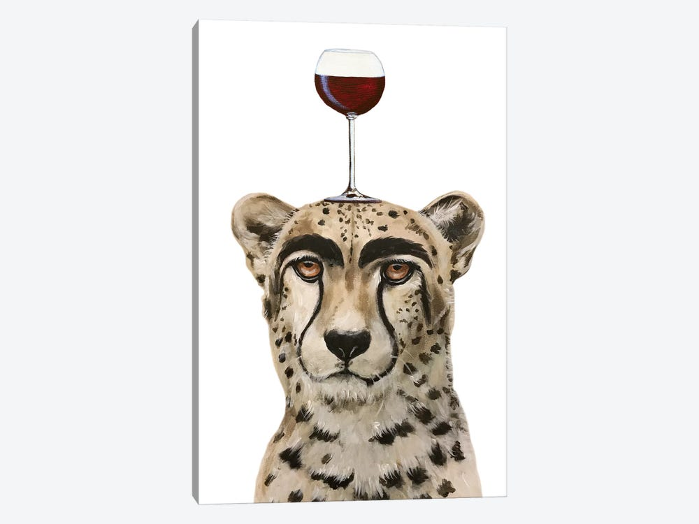 Cheetah With Wineglass by Coco de Paris 1-piece Canvas Artwork