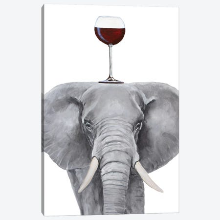Elephant With Wineglass Canvas Print #COC395} by Coco de Paris Canvas Print