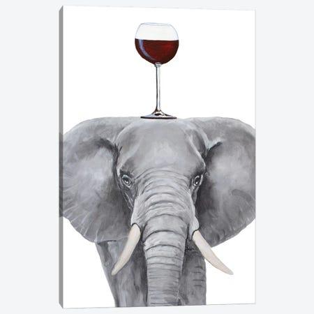Elephant With Wineglass Canvas Print #COC395} by Coco de Paris Canvas Print