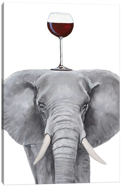 Elephant With Wineglass Canvas Art Print