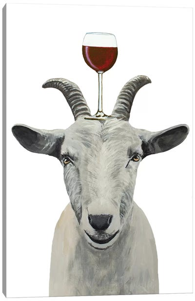 Goat With Wineglass Canvas Art Print