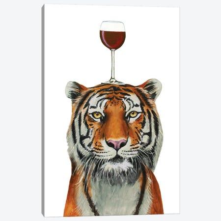Tiger With Wineglass Canvas Print #COC397} by Coco de Paris Canvas Print