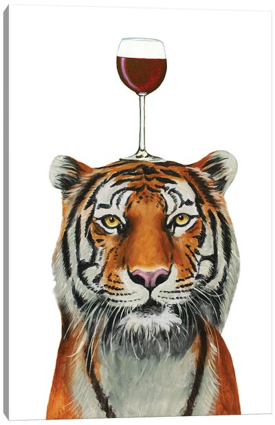 Tiger With Wineglass Canvas Art Print