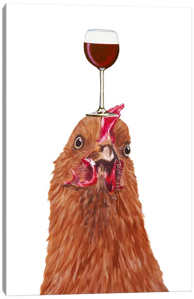 Hen With Wineglass Canvas Art Print