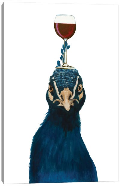 Peacock With Wineglass Canvas Art Print
