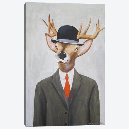 English Deer With Hat Canvas Print #COC39} by Coco de Paris Art Print