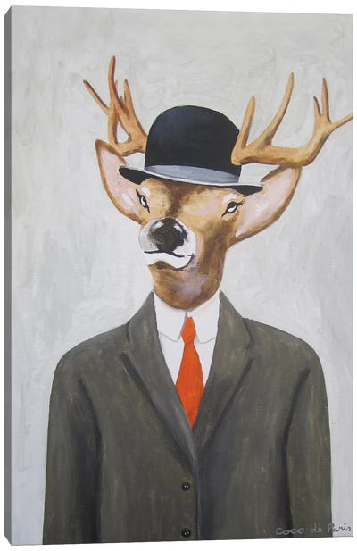 English Deer With Hat Canvas Print #COC39