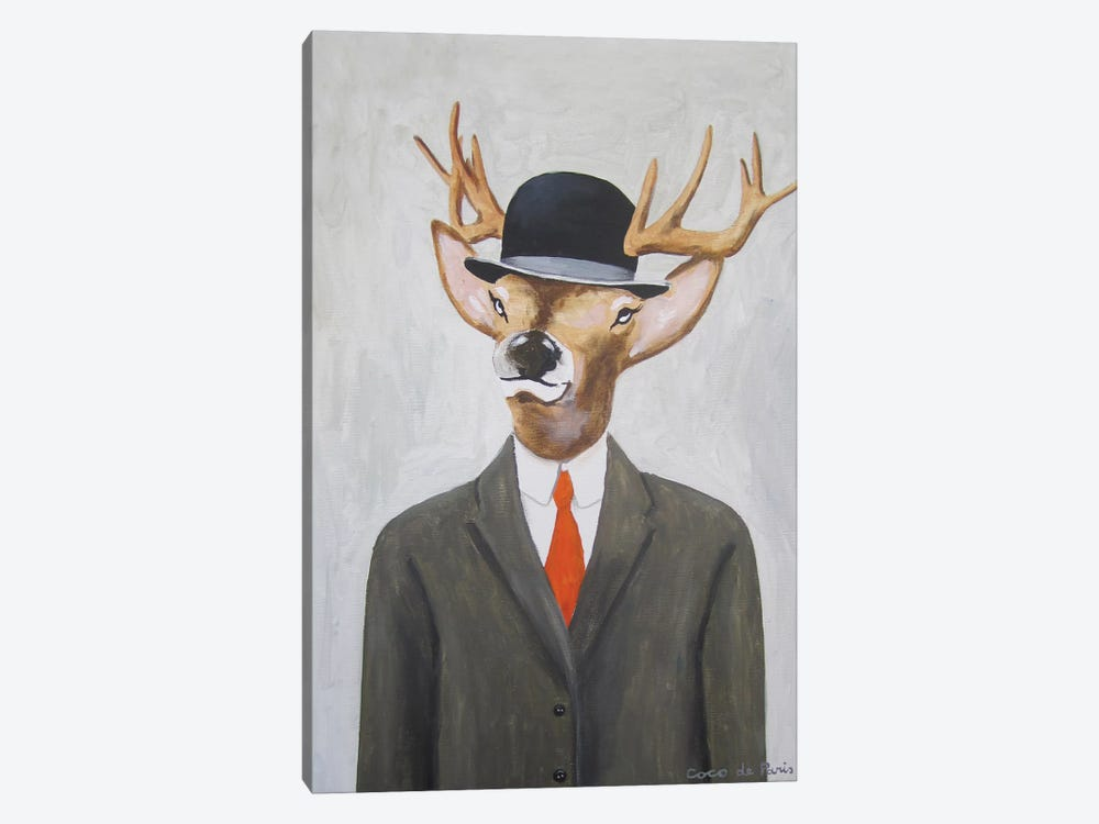 English Deer With Hat 1-piece Canvas Artwork