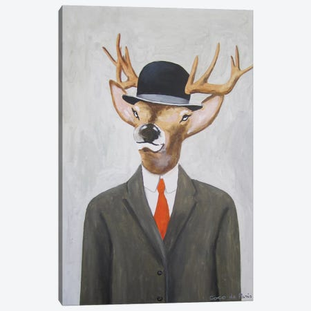 English Deer With Hat Canvas Print #COC39} by Coco de Paris Art Print