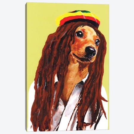 Bob Marley Dachshund Canvas Print #COC3} by Coco de Paris Canvas Print