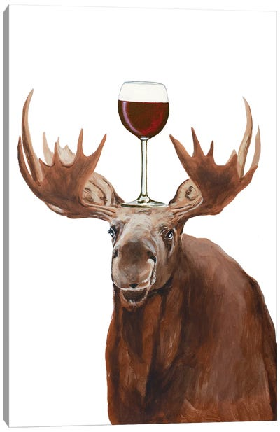 Moose With Wineglass Canvas Art Print