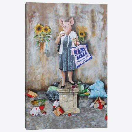 Shopping Pig Canvas Print #COC401} by Coco de Paris Canvas Art