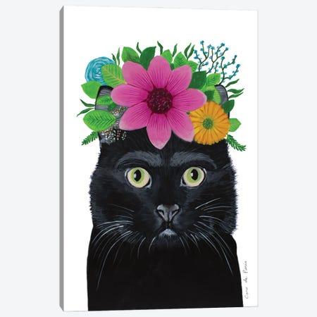Frida Kahlo Black Cat - White Canvas Print #COC402} by Coco de Paris Canvas Artwork