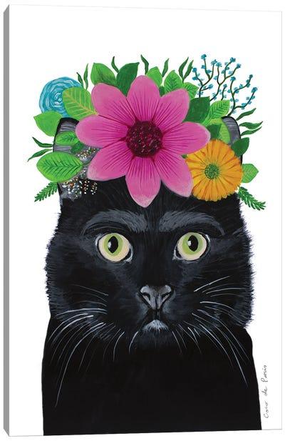 Frida Kahlo Black Cat - White Canvas Art Print